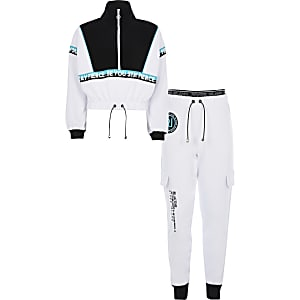 RI Active - Ensemble avec pantalons de jogging courts blancs pour fille
