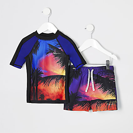 Mini boys red palm print swim top set