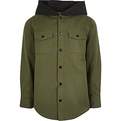 Boys khaki hooded utility shirt