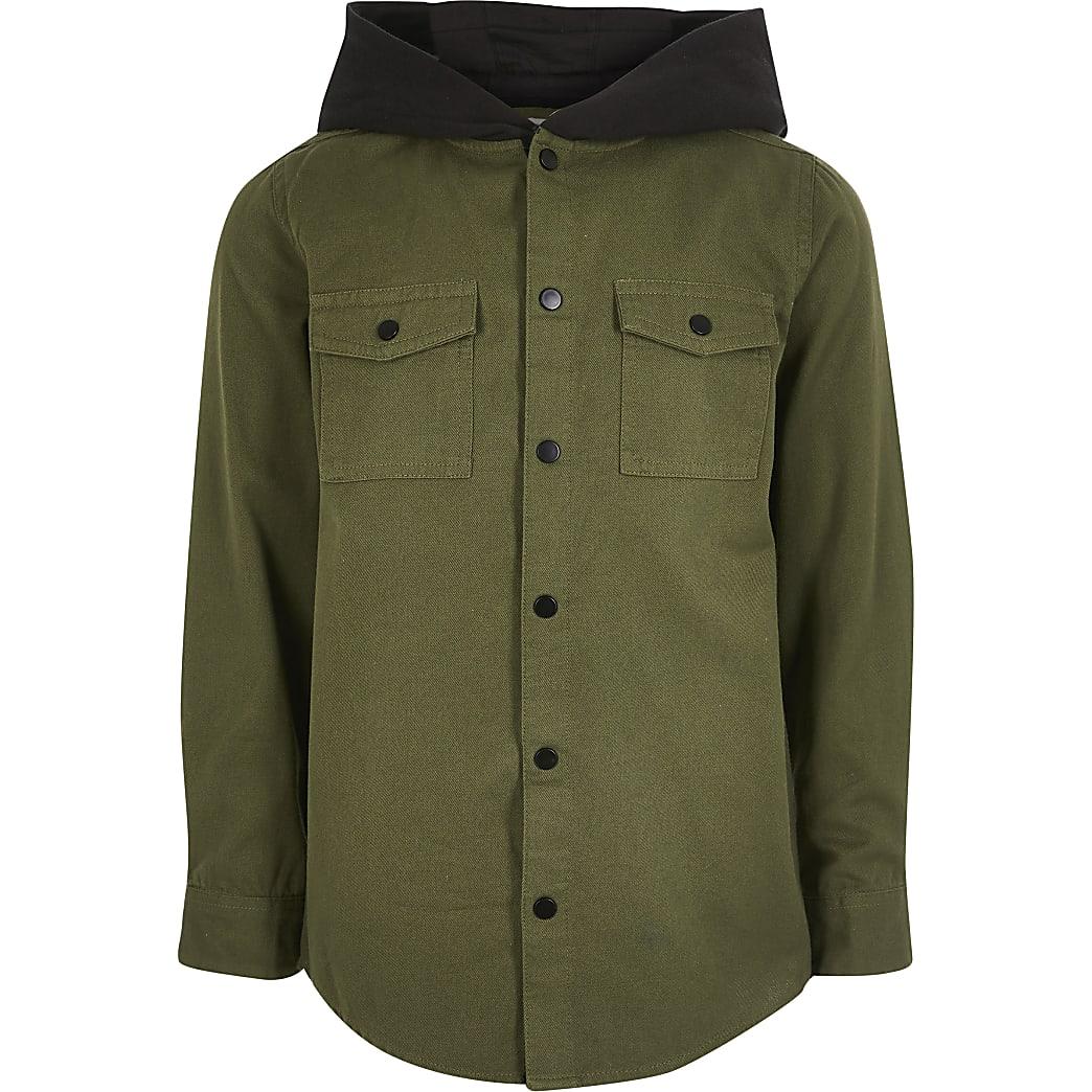 Kaki utility overhemd met capuchon voor jongens