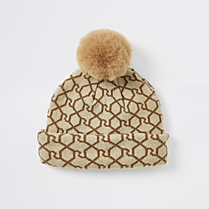 Bonnet RI monogramme marron mini fille