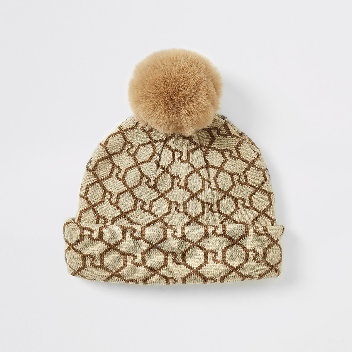 Mini girls brown RI monogram beanie hat