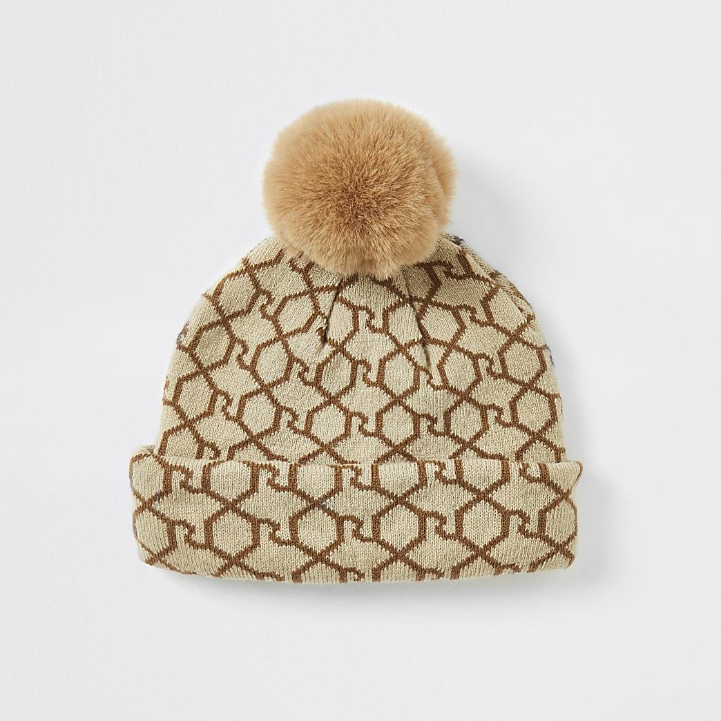 Mini girls brown RI monogram beanie hat