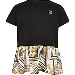 Girls black peplum baroque print t-shirt