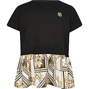 Zwart T-shirt met peplum en barokprint voor meisjes