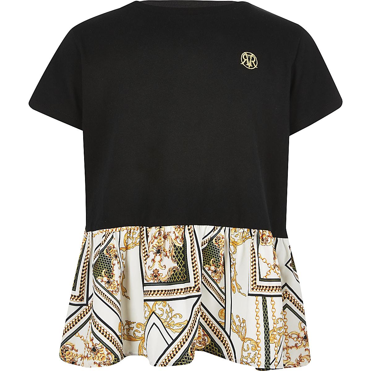 Girls black peplum baroque print t-shirt
