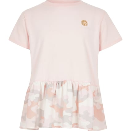 Girls pink camo peplum T-shirt