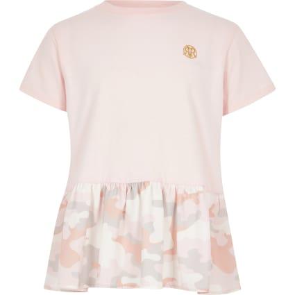 Girls pink camo peplum T-shirt