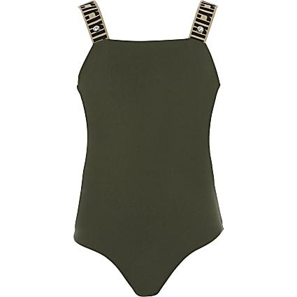 Girls khaki RI monogram strap bodysuit