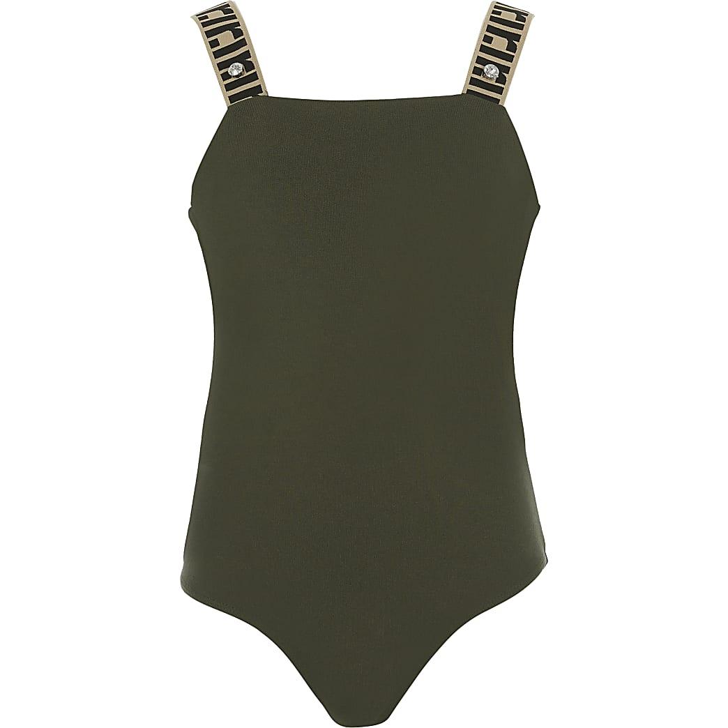 Kaki bodysuit met bretels en RI-monogram voor meisjes
