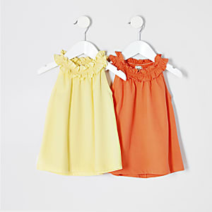 Mini girls yellow trapeze t-shirt multipack