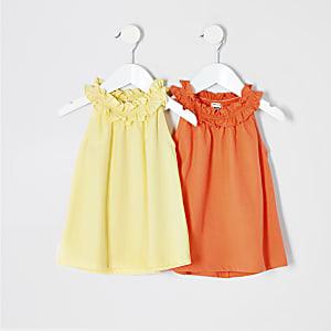 Mini - Multipack met geel T-shirt met A-lijn voor meisjes