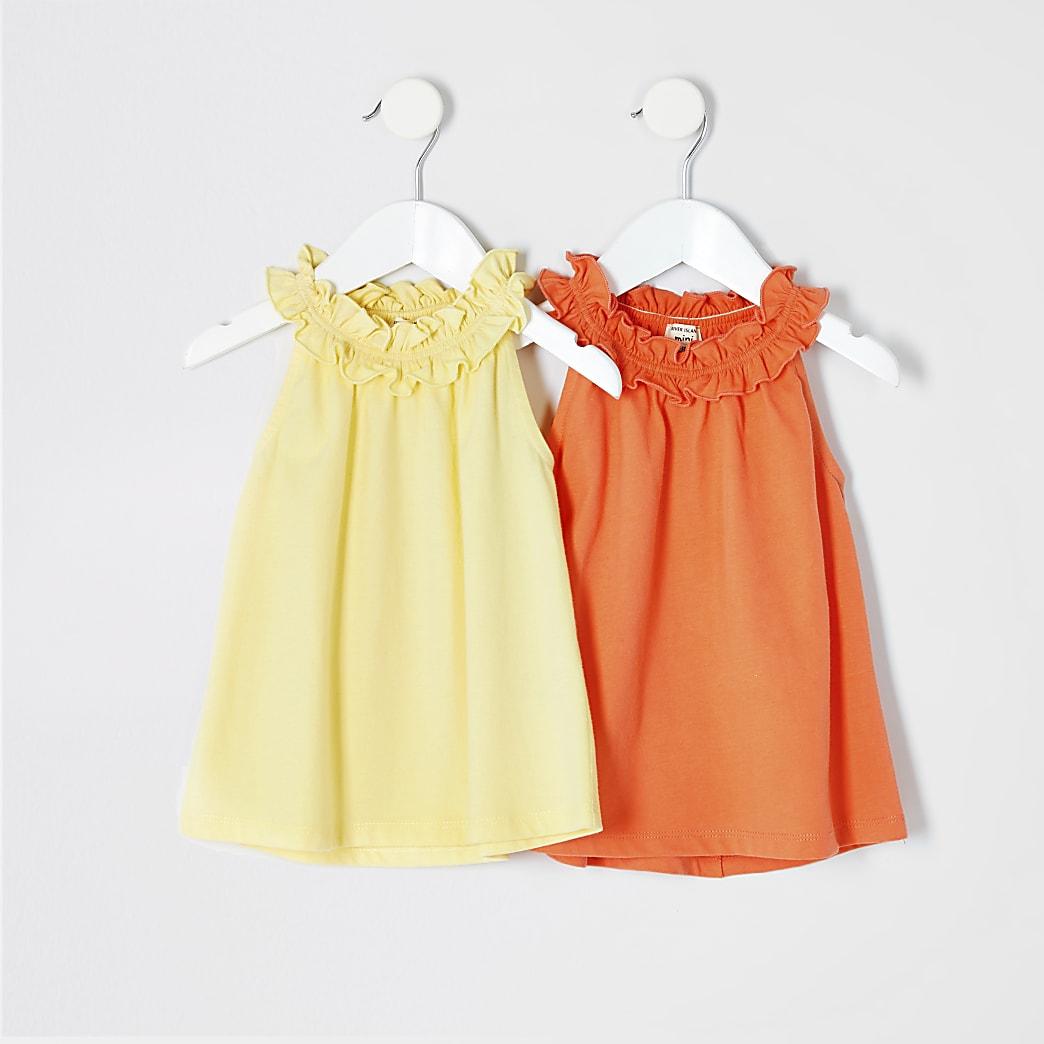 Mini girls yellow trapeze t-shirt multipack