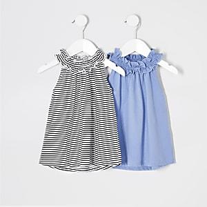 Mini - Multipack met blauwe gestreept top met A-lijn  voor meisjes