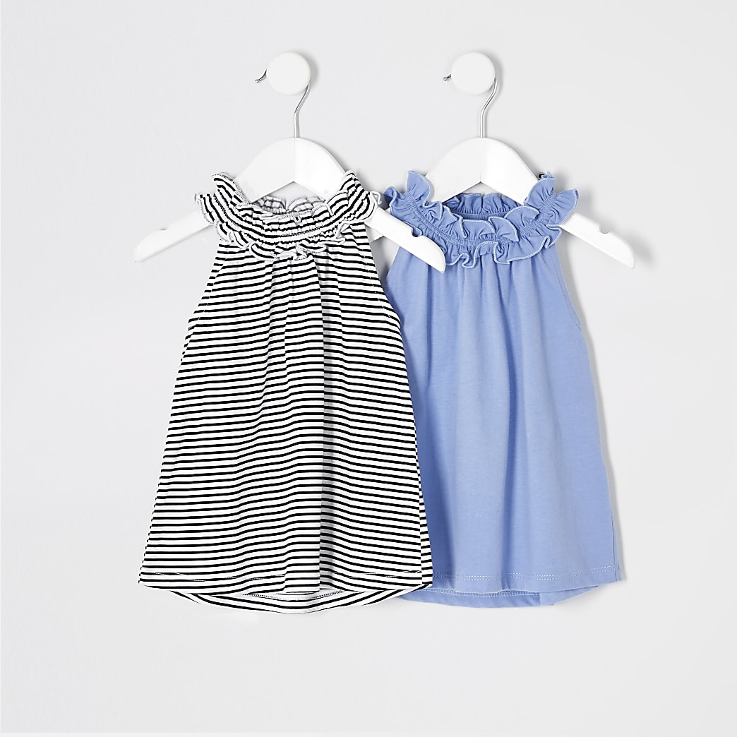 Mini girls blue stripe trapeze top multipack