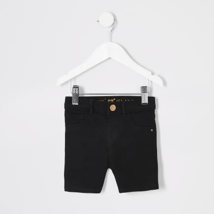 Mini boys black denim cycling shorts