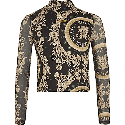 Girls black baroque 'Unique' mesh sleeve top