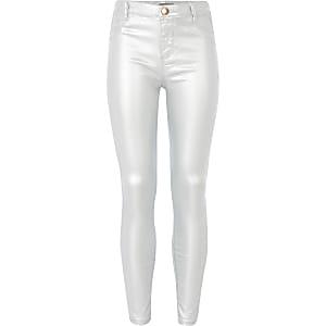 Molly - Zilverkleurige jegging met coating en halfhoge taille voor meisjes