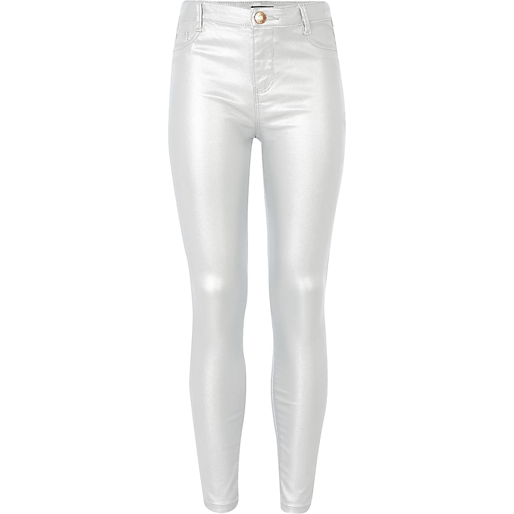Girls silver coated Molly mid rise jeggings