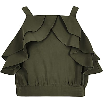 Girls khaki frill crop top