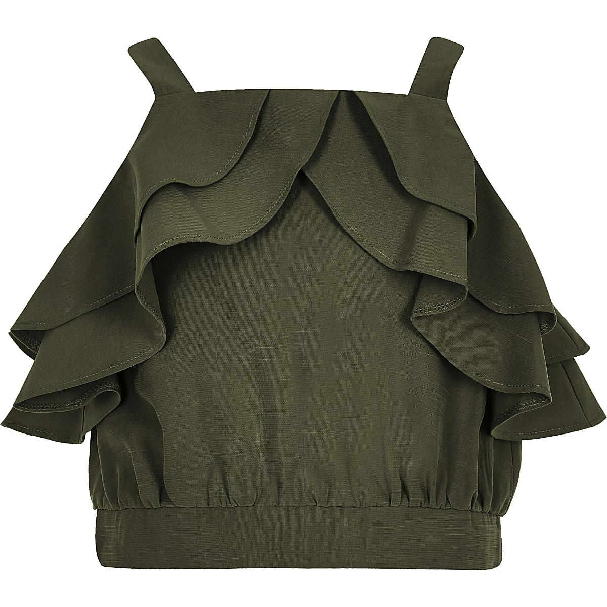 Girls khaki frill crop top