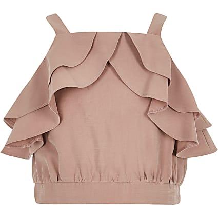 Girls light pink frill crop top