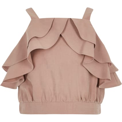 Girls light pink frill crop top
