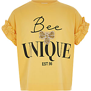 """Gelbes T-Shirt mit Rüschen """"Beeunique"""" für Mädchen"""