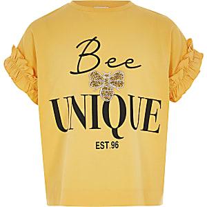 Geel 'Bee unique' T-shirt met ruches voor meisjes