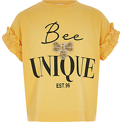 Girls yellow 'Bee unique' frill T-shirt