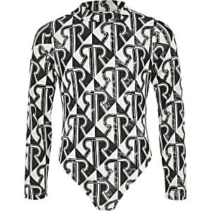Zwarte bodysuit met RI-monogramprint voor meisjes