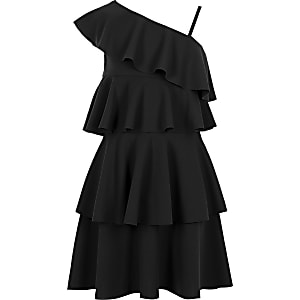 Girls black asymmetric frill dress