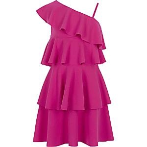 Robe rose asymétrique à volants pour fille