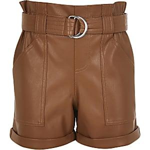 Braune Paperbag-Shorts aus Kunstleder für Mädchen