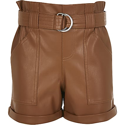 Girls brown paperbag faux leather shorts