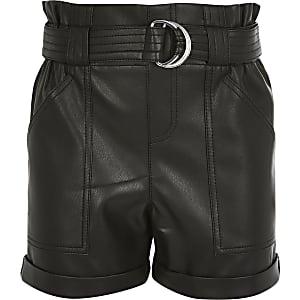Shorts en cuir synthétique noir à taille haute ceinturée pour fille