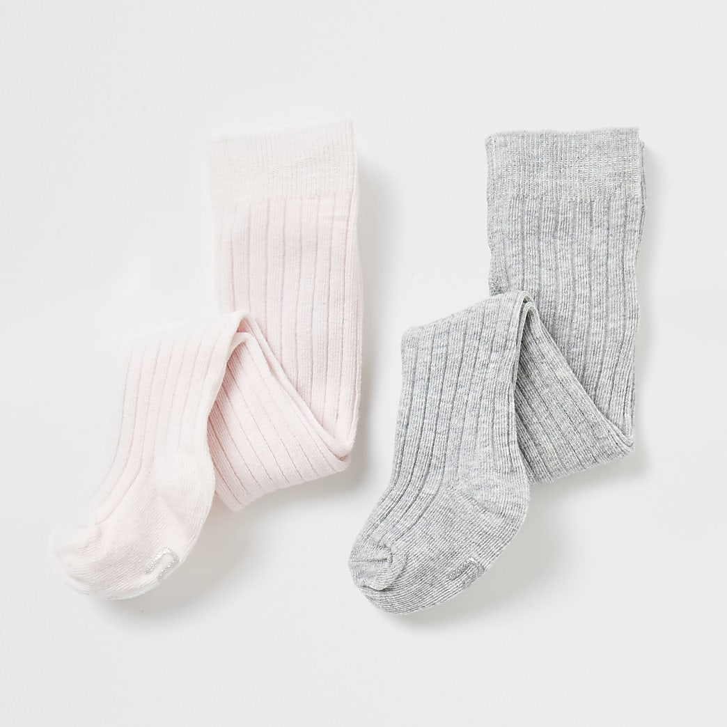 Baby pink and grey tights 2 pack