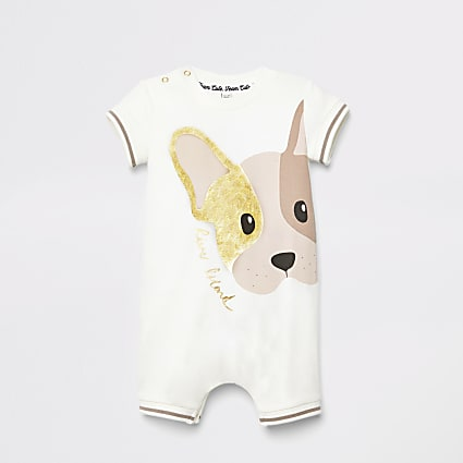 Baby white dog print romper