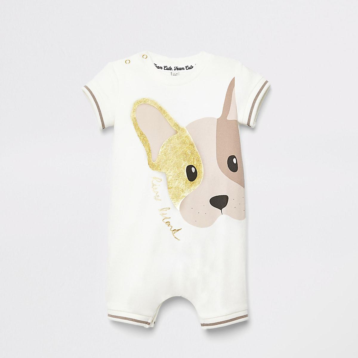 Wit rompertje met hondenprint voor baby's