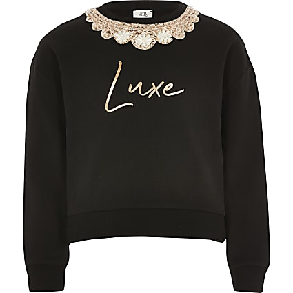 Girls black luxe embellished sweatshirt