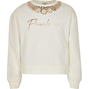 Cremefarbenes Sweatshirt mit makelloser Verzierung für Mädchen