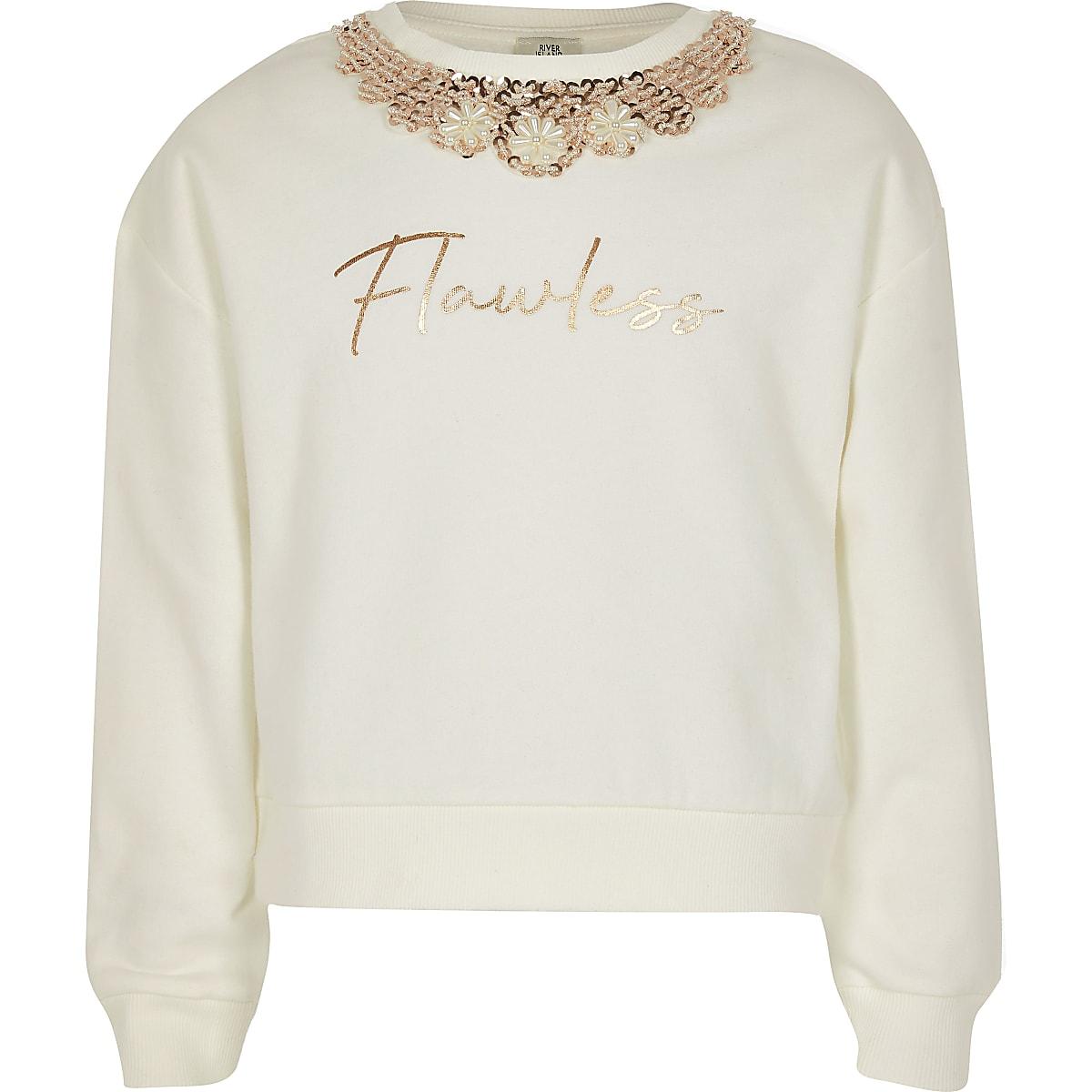 Crèmekleurig verfraaid sweatshirt met flawless-tekst voor meisjes