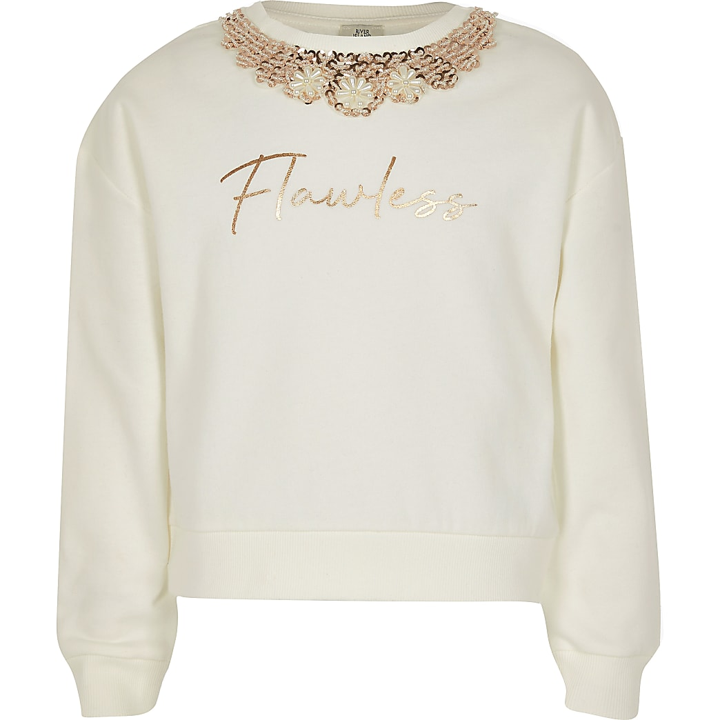 Girls cream flawless embellished sweatshirt