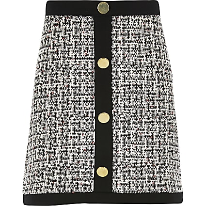 Girls monochrome boucle button front skirt
