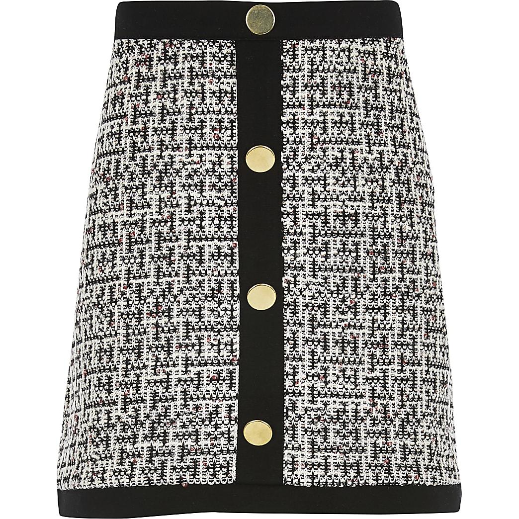Girls monochrome boucle button front skirt