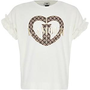 Crèmekleurig T-shirt met 'L'amour'-tekst en mouwen met ruches voor meisjes