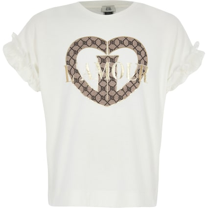 Girls cream 'L'amour' frill sleeve T-shirt