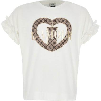 Girls cream 'L'amour' frill sleeve T-shirt