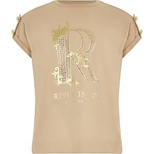 T-Shirt mit R Knopfverzierung an der Schulter für Mädchen