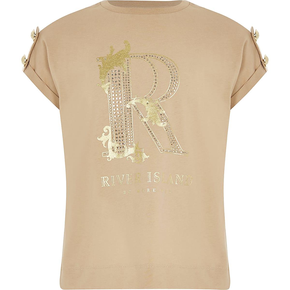 Girls embellished R button shoulder T-shirt
